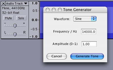 Audacity Tone Generator