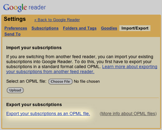 Google Reader - Export Subscription List OPML