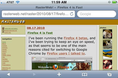 Fig. 2: Mobile Safari on iPhone (vertical)