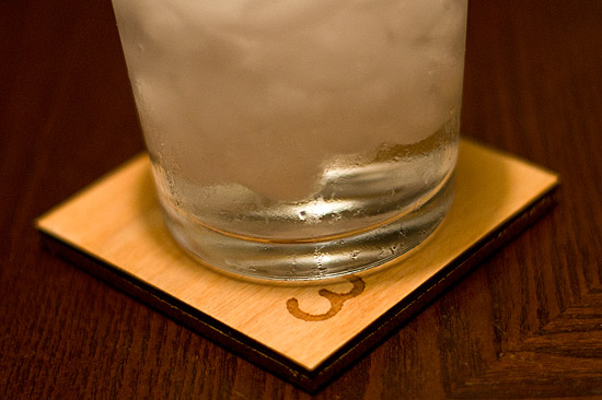 Glass on coaster