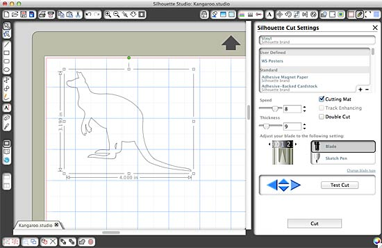 Kangaroo in Silhouette Studio