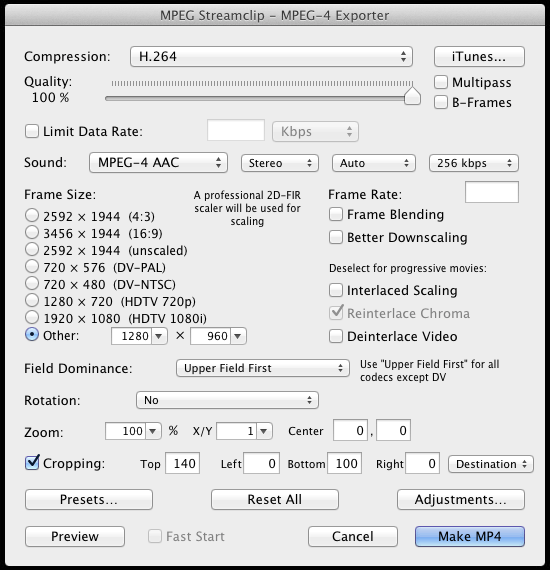 MPEG Streamclip settings, with crop